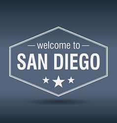 Welcome to San Diego hexagonal white vintage label vector