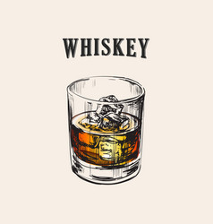 Whiskey glass hand drawn drink vector