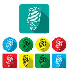 white - black silhouette in flat microphone icon vector image