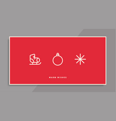 winter holidays greeting card with line icons vector image