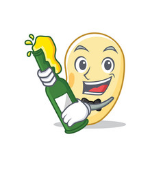 With beer soy bean mascot cartoon vector