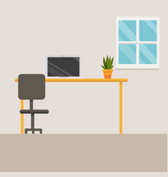 workspace with laptop and little tree vector image