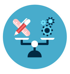 writing tools vs cog wheels on balance scales icon vector image