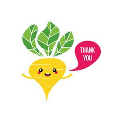 yellow turnip character saying thank you vector image
