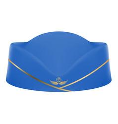 blue stewardess uniform cap isolated on a white vector image