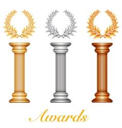 Column laurel awards vector image