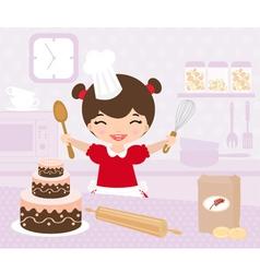 cute little girl baking vector image vector image