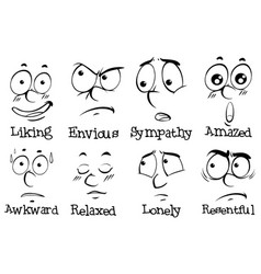 different expressions on human face with words vector image