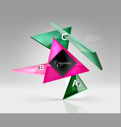 geometric glass triangles abstract background vector image vector image