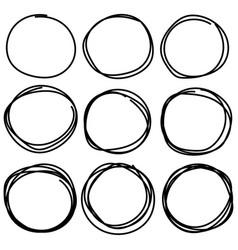 set of hand drawn circle elements vector image