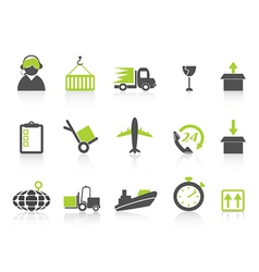 simple logistics and shipping icons green series vector image vector image