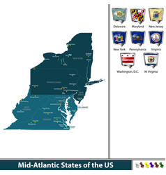 Mid atlantic states of the united states vector