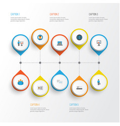 business flat icons set collection of work man vector image