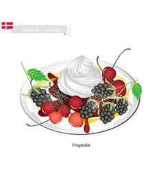 frugtsalat or fruit salad vector image vector image