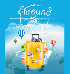 go travel concept travel bag and different vector image