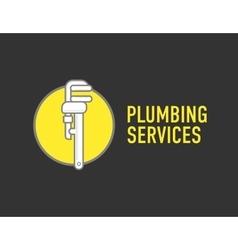 Plumbing repair wrench line flat icon Logo vector image vector image