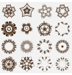 Set of round east ornament Spirographs vector image