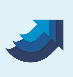 three in one up arrows blue color vector image