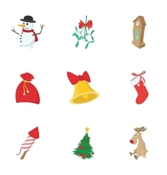 Winter holiday icons set cartoon style vector image vector image