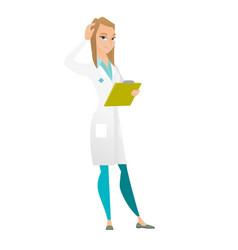 Young caucasian doctor scratching her head vector