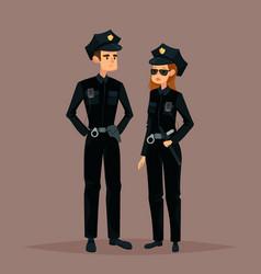 cartoon woman and man at police job or work vector image vector image