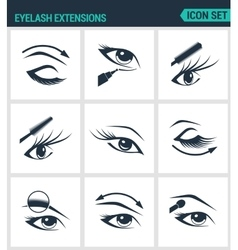 Set of modern icons Eyelash extensions vector image vector image