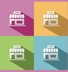 shop icon with shadow on colored backgrounds vector image