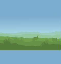 silhouette of rabbit and easter landscape vector image vector image