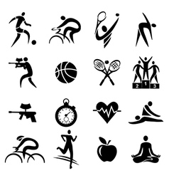 Sport fitness healthy lifestyle icons vector image vector image