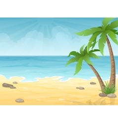 tropical beach with palms tree vector image