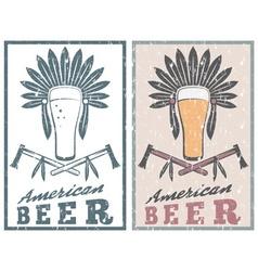 vintage grunge emblem of american beer with native vector image