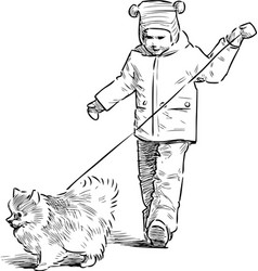 A little child with his pet going on a stroll vector