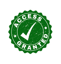access granted scratched stamp with tick vector image
