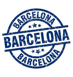 Barcelona blue round grunge stamp vector