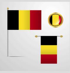 Belgium waving flag design with badge vector