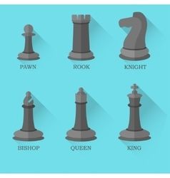 Black chess figures on blue background vector image