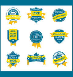 blue and yellow marketing labels set of 9 vector image