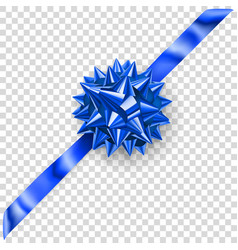 blue shiny bow with diagonally ribbon vector image