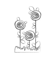 Blurred silhouette sketch roses planted with vector