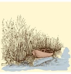 Boat on lake vector