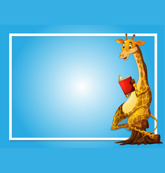 Border template with giraffe reading vector