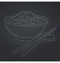 Bowl of boiled rice with chopsticks vector image