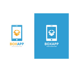 Box and phone logo combination package vector