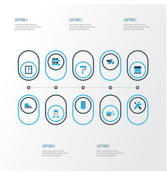 Building colorful icons set collection of open vector