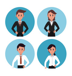 business people in round icons vector image