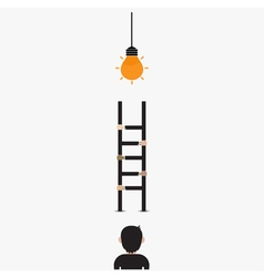 Businessman and light bulb with ladder vector