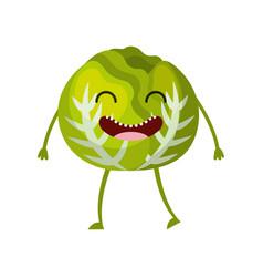 cabbage fresh vegetable kawaii character vector image
