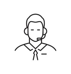 Call center operator line icon vector image