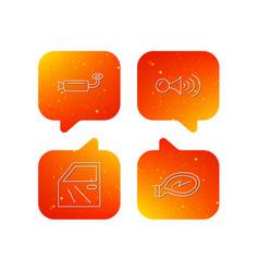 Car door muffler and klaxon signal icons vector
