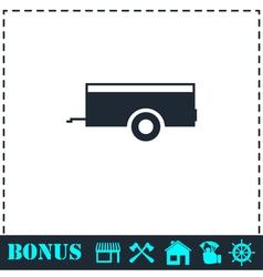 Car trailer icon flat vector